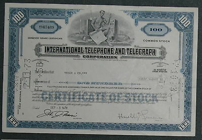 International Telephone and Telegraph Corporation 1971 100 Shares .
