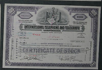 International Telephone and Telegraph Corporation 1972 100 Shares .
