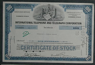 International Telephone and Telegraph Corporation 1973 100 Shares blau .