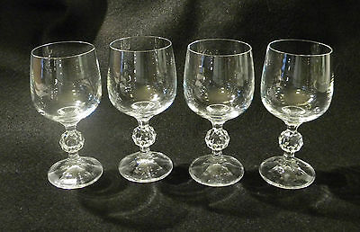 4 Wine Glasses with Faceted Ball Style Stem Crystal Glass 6 Ounce