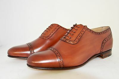 MEN-7½eu-8½usa-OXFORD CAPTOE-REDDISH CALF-VITELLO MATTONE-LTHR. SOLE-SUOLA CUOIO