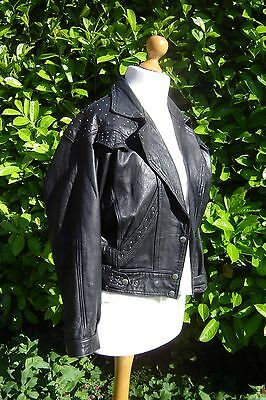 Vintage 80s PunkSteampunk Inspired Studded Black Leather Biker Jacket  Size M 12