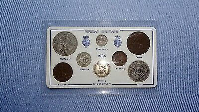 Vintage Great Britain(UK),1935 Coin Set.(82ND Birthday Gift With Silver).🇬🇧🎁.