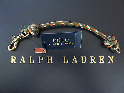 NEW RALPH LAUREN Men's Olive Nylon Wristband Wrist Strap with Brass Claw Closure