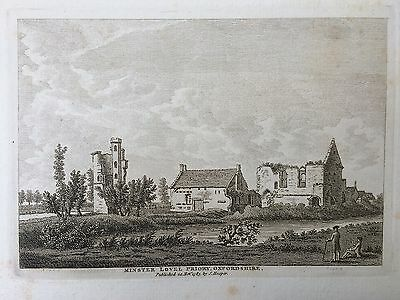 1783 Antique Print; Minster Lovell Hall, near Witney, Oxfordshire after Grose