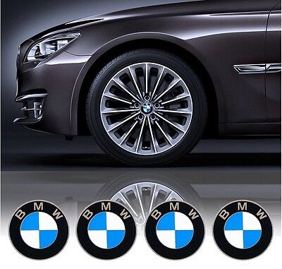 4Pcs 65mm Diameter Wheel Center Caps Sticker Self Adhesive Logo Emblem For BMW