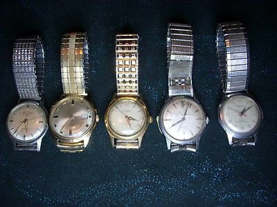 Vintage  Watches for Parts or Repair ( Jeweled )  Elgin, Timex + Lot of 5