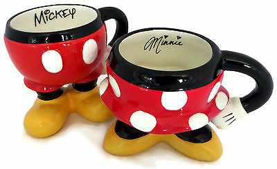 Disney Parks Set of 2 Coffee Mugs Best of Mickey Mouse & Minnie Body Parts Pants