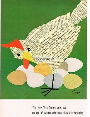 1959 New York Times TOMI UNGERER artist VTG PRINT AD Chicken Laying Eggs