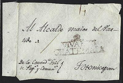 Guatemala 1809  Cover Front  To Totonicapan With Red Viva Vii