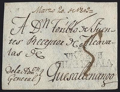 Guatemala 1809  Dated Cover Front  To Quezaltenango With Black Viva Vii