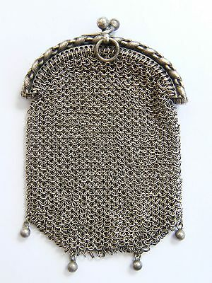 Antique-Austrian Solid SIlver Ladies Chatelaine Chain Mesh Coin Purse-circa 1900