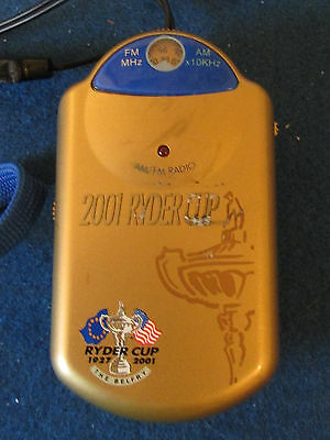 Ryder Cup 2001 - The Belfry - Souvenir AM/FM Radio - with earpieces and lanyard