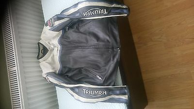 ladies motorcycle jacket, Triumph, small,black leather with blue/cream stripes