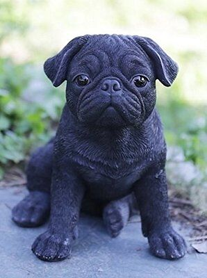 Sitting BLACK PUG Puppy Dog - Life Like Figurine Statue Home / Garden NEW