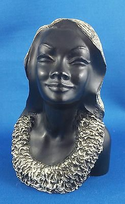 """Leialona"", Exotic Black Coral Hawaiian Girl Carved by Frank Schirman Sculpture"