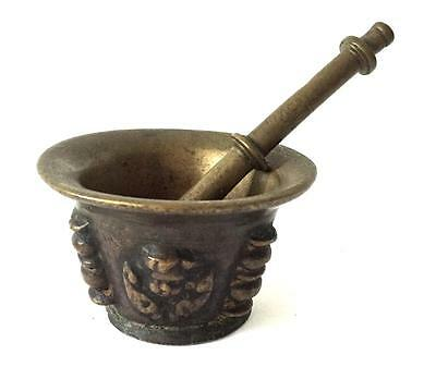 Antique Bronze Mortar Pestle 17Th Century Apothecary Antique Rare
