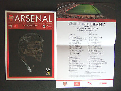 *Arsenal V Swnasea - Special Wenger 20yrs Programme Oct 15th 2016 + Teamsheet. *