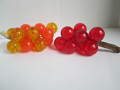 2 Vintage Mid Century Bubble Acrylic, Lucite Grape Vines, Yellow Orange and Red