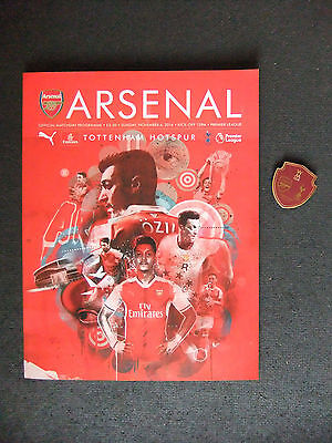 *Arsenal V Tottenham - Official Prog Nov 6th 2016 + WM club members badge*