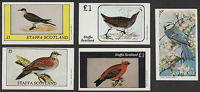5 Staffa 1982 £1 Bird Stamps - Cinderellas UM / MNH Inner Hebrides Scotland