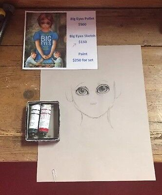 Big Eyes Movie Props Set. Sketch And Paint