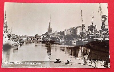 Bristol - St. Mary Redcliffe, Church & Parade, RP PC Unused, Shows Boats in Dock