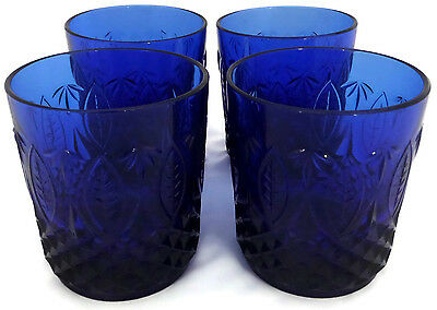 Set of 4 Avon Royal Sapphire Cobalt Blue Old Fashioned Drinking Glasses France