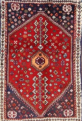Geometric Tribal 3x5 Abadeh Shiraz Persian Area Rug Oriental Carpet 4' 9 x 3' 3