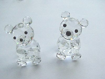 Two Vintage Swarovski Crystal Miniature Bear Figurines - Estate Item 15