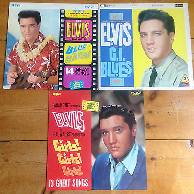 Elvis Presley LPs - Blue Hawaii, G.I. Blues, & Girls! Girls! Girls!