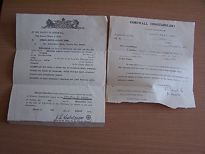 Vintage 1950 Court Summons Cornwall Constabulary Pydar Traffic Offence Police