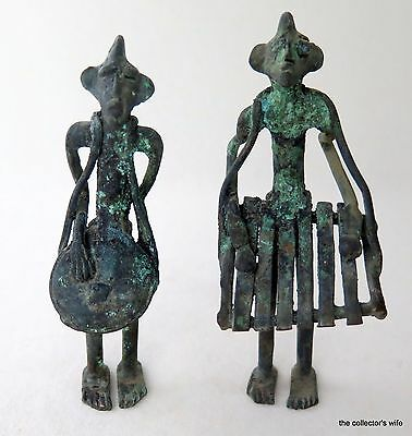 African Folk Tribal Art Two Vintage Handmade Musician Figures Bronze Drum Music