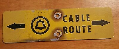 ~Vintage Bell System Telephone Cable Route Warning Metal Sign~ Shotgun Pits~