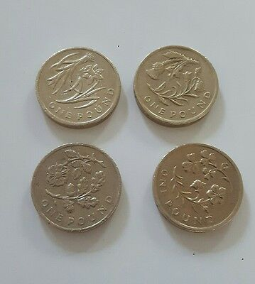 £1 One Pound Coin Floral Design Set Of Four Flowers
