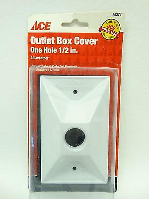 """NEW Ace 36273 White Single Gang One 1/2"""" Hole All Weather Outlet Box Cover"""