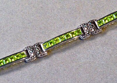 HEAVY VINTAGE ESTATE PERIDOT and MARCASITE STERLING SILVER TENNIS BRACELET 13.7g