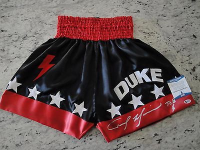 Tommy The Duke Morrison Signed Boxing Trunks Beckett Authentication Wbo Champ
