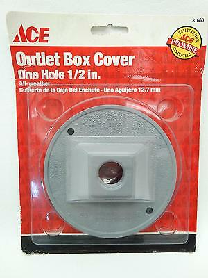"""NEW Ace 31660 Grey Round One Hole 1/2"""" All Weather Outlet Box Cover"""