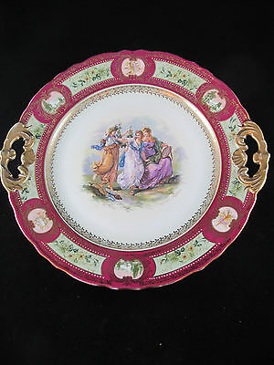 """Royal Vienna Hand Painted Porcelain Plate - 11"""" - Beehive/Shield Mark #4444"""