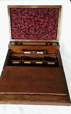 Antique English Walnut Inlaid Slant Lap Desk with Inkwell Bottles Circa 1870s.