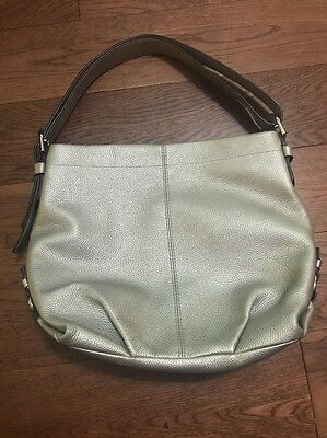 COACH Duffle Convertible Crossbody Silver Leather Shoulder Handbag F15064