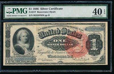 AC Fr 217 1886 $1 Silver Certificate MARTHA PMG 40 EPQ big spiked red seal