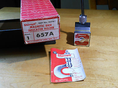 STARRETT No. 657A Magnetic Base Indicator Holder, Box & Paperwork