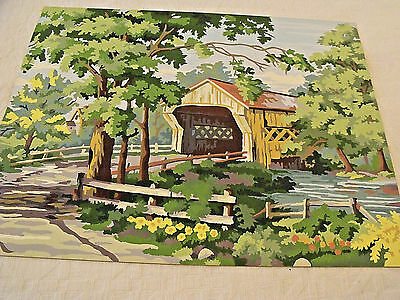 "VTG Paint By Number PBN Woodland Creek Covered Bridge 16""x20"" Unframed Pretty!"