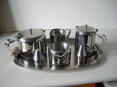 Vintage Stainless Steel Tea Set with Tray