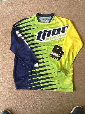 Thor Motocross MX Racing Race Jersey Vented , Green Yellow Adult Large