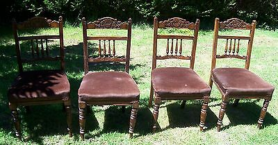 Antique 4 Edwardian Dinning Room Chairs