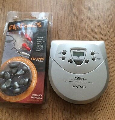 MATSUI   CD-119  portable CD player With New FATFONES Earphones