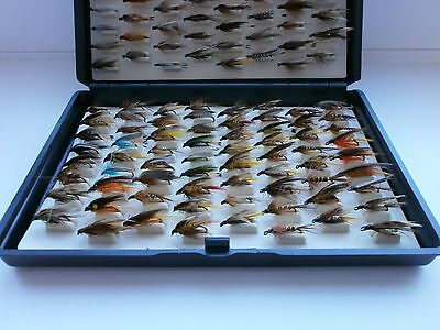 Brand New Fox Box with 136 New Mixed Wet Trout Flies